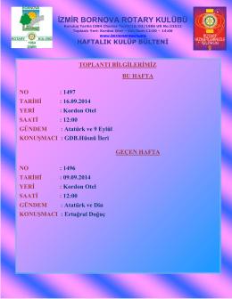 Toplantı bülteni - Bornova Rotary Kulübü