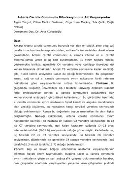 S10. Arteria Carotis Communis Bifurkasyonuna Ait Varyasyonlar