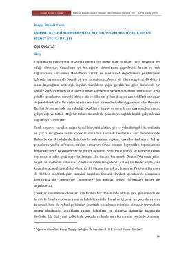 Osmanlı Devletinde Korunmaya Muhtaç Çocuklara Yönelik Sosyal