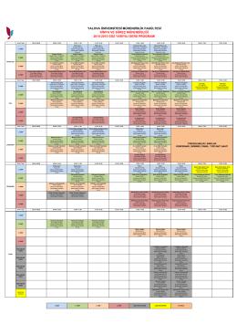 Kimya ve Süreç Mühendisliği (KSM) Ders Programı