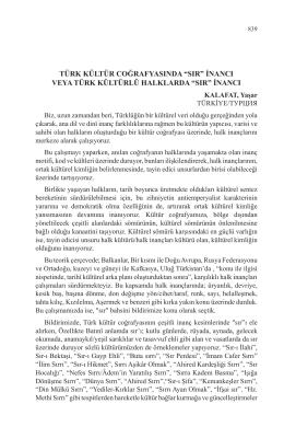 KALAFAT, Yaşar-TÜRK KÜLTÜR COĞRAFYASINDA SIR