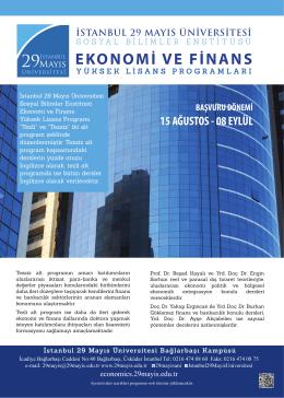 EKONOMİ VE FİNANS - İstanbul 29 Mayıs Üniversitesi