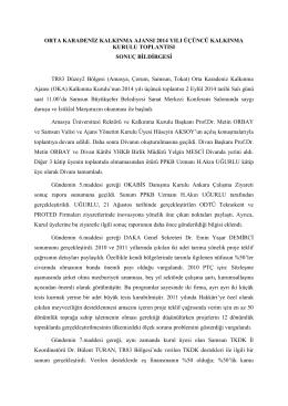 Kalkınma Kurulu 2014/3 - Orta Karadeniz Kalkınma Ajansı