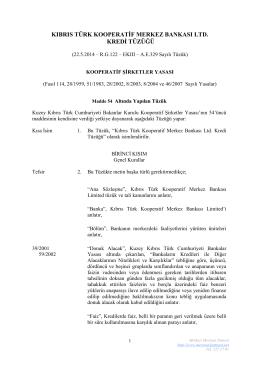 kıbrıs türk kooperatif merkez bankası ltd. kredi tüzüğü