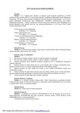 Ana Sözleşme - Türkiye Vagon Sanayi A.Ş.