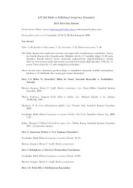 LIT 205 Edebî ve Dilbilimsel Araştırma Yöntemleri 2013