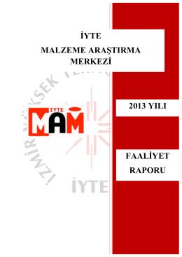 Malzeme Araştırma Merkezi - İzmir Yüksek Teknoloji Enstitüsü