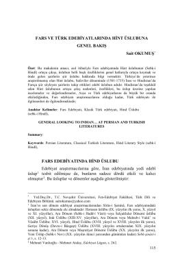 Sait Okumuş-Fars ve Türk Edebiyatlarında Hint Üslubuna Genel Bakış