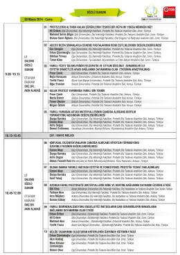 Sözlü Sunum - 21. Uluslararası Dişhekimliği Kongresi