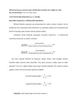 TANI TESTLERİ (30.04.2014 Çrş. Y. ÇELİK) Duyarlılık (Sensitivity