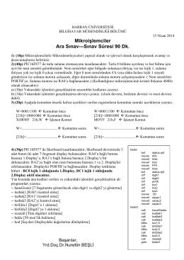 Mikroişlemciler Ara Sınav---Sınav Süresi 90 Dk.