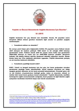 Yaşlılık ve Öncesi Dönemlerde Sağlıklı Beslenme çin Öneriler1 8.1