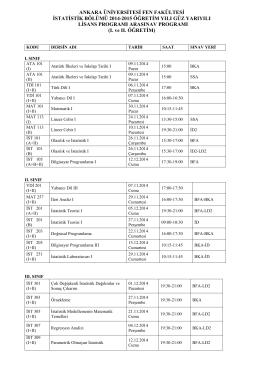 2014-2015 GÜZ YARIYILI ARASINAV PROGRAMI (I ve II. Öğretim)