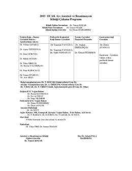 2015 OCAK Ayı Anestezi ve Reanimasyon Kliniği Çalışma Programı