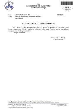 Şubat ayı meclis karar özetlerinin Web de yayınlanması