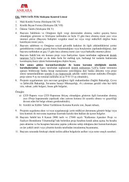EK: TR51/14/İLTEK Sözleşme Kontrol Listesi 1. Mali Kimlik Formu