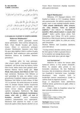 14.03.2014 Tarihli Hutbe : ÇANAKKALE ZAFERİ VE ŞEHİTLERİMİZ