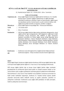 DSÖ-Atina Raporu – 2014 - Türkiye Sağlıklı Kentler Birliği