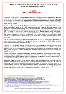 18 ekim dünya menopoz günü - Hacettepe Üniversitesi Tıp Fakültesi