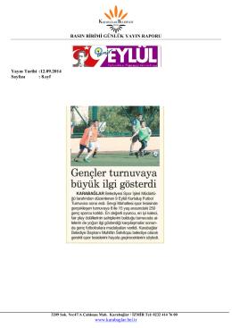 BASIN BİRİMİ GÜNLÜK YAYIN RAPORU www.karabaglar.bel.tr