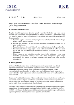 S İ R  K  Ü L  E  R : 2 0 1 4 / 1 8 07.04.2014 Yap – İşlet