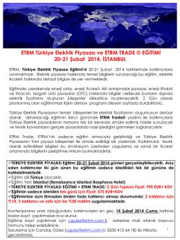 ETRM Türkiye Elektrik Piyasası ve ETRM TRADE © EĞİTİMİ 20-21