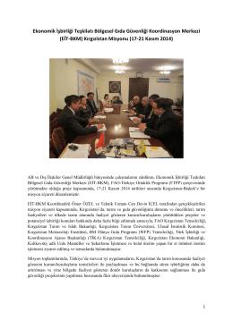 (EİT-BKM) Kırgızistan Misyonu - TC Gıda Tarım ve Hayvancılık