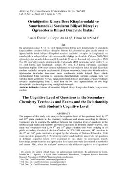 Ortaöğretim Kimya Ders Kitaplarındaki ve Sınavlarındaki Soruların