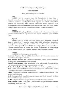 Hitit Üniversitesi Öğrenci Kulüpleri Yönergesi – 2014 1/13 Hitit