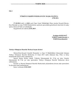 EK 1 - Türkiye Eskrim Federasyonu