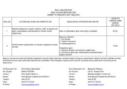 bolu belediyesi özel kalem müdürlüğü hizmet standartları tablosu
