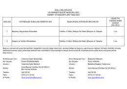 bolu belediyesi veteriner işleri müdürlüğü hizmet standartları tablosu