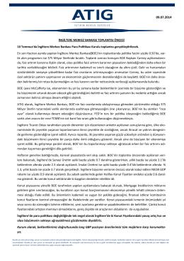 İNGİLTERE MERKEZ BANKASI TOPLANTISI ÖNCESİ 10 Temmuz