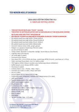 2014-2015 eğitim öğretim yılı 4. sınıflar ihtiyaç