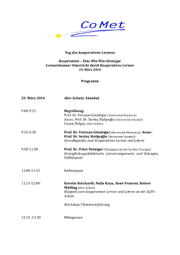 Themenvorschlag/Tag des kooperativen Lernens (MAR, BUL, IST