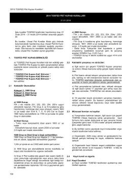 TOSFED Pist Kupası Kuralları - Türkiye Otomobil Sporları