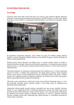 Elektrik Programı - Mehmet Akif Ersoy Üniversitesi Teknik Bilimler