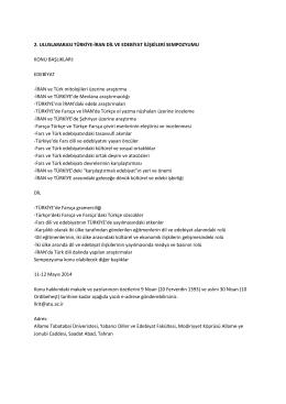 2. uluslararası türkiye-iran dil ve edebiyat ilişkileri sempozyumu, 11