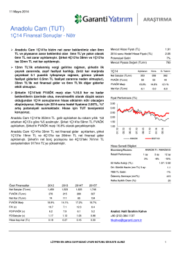 Anadolu Cam (TUT) - Garanti Yatırım