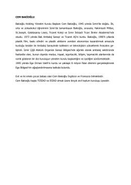CEM BAKİOĞLU Bakioğlu Holding Yönetim Kurulu