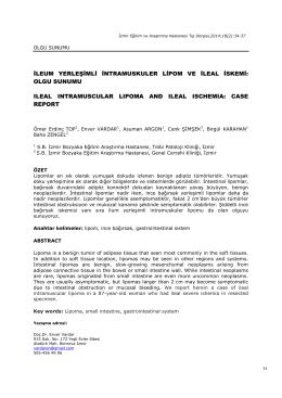 ileum yerleşimli intramuskuler lipom ve ileal iskemi: olgu sunumu