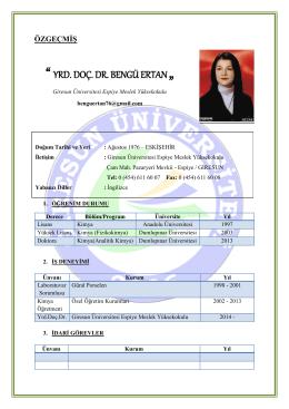 """"""" YRD. DOÇ. DR. BENGÜ ERTAN """" - Giresun Üniversitesi Espiye MYO"""
