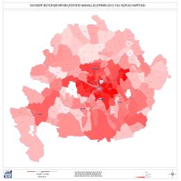 kayseri büyükşehir belediyesi mahallelerinin 2013 yılı nüfus haritası