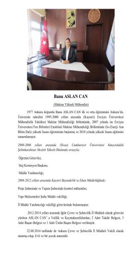 Banu ASLAN CAN - Çevre ve Şehircilik Bakanlığı