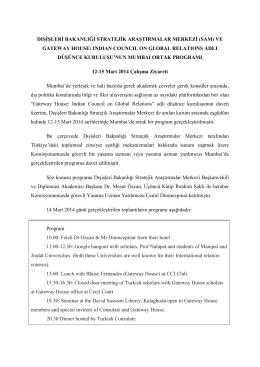 Mart 2014 Hindistan Çalışma Ziyareti Raporu