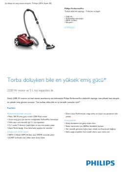 Product Leaflet: 2200 W Torbalı elektrikli süpürge TriActive+ başlık