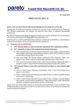 sırk-14-42 otv kanunu ile ılgılı elektronık kayıt