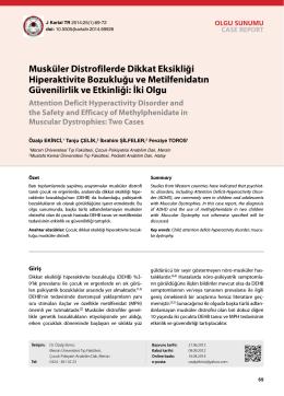 Musküler Distrofilerde Dikkat Eksikliği Hiperaktivite