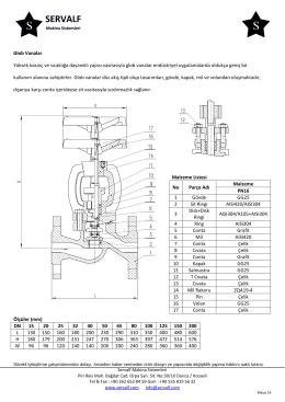 Glob Vanalar Yüksek basınç ve sıcaklığa dayanıklı yapısı vasıtasıyla