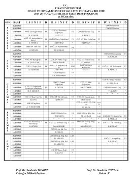 2014-2015 Güz Dönemi Ders Programı